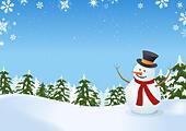 Snowman In Winter Landscape ALMFBW9MP| 写真素材・ストックフォト・画像・イラスト素材|アマナイメージズ