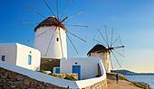 Mykonos landscape with a windmills, Mykonos Island, Cyclades Islands, Greece ALMFAC3XF| 写真素材・ストックフォト・画像・イラスト素材|アマナイメージズ