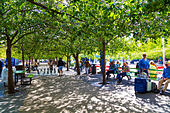 People playing chess under tree canopies in Kungsträdgården, Stockholm, Sweden ALMPFYE9J| 写真素材・ストックフォト・画像・イラスト素材|アマナイメージズ