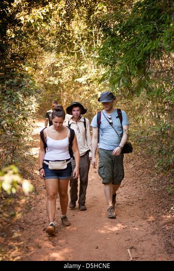 Madagascar, Operation Wallacea, Mariarano, students walking on forest trail ALMD5HCNE  写真素材・ストックフォト・画像・イラスト素材 アマナイメージズ