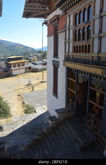 A religious school with monks' accommodation in Bumthang, Bhutan. ALM2BFX21D  写真素材・ストックフォト・画像・イラスト素材 アマナイメージズ