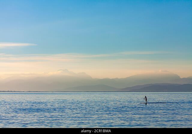 stand up paddling, sea, landscape, water sports, coast, mallorca, paddle, ALM2CR1BMA  写真素材・ストックフォト・画像・イラスト素材 アマナイメージズ