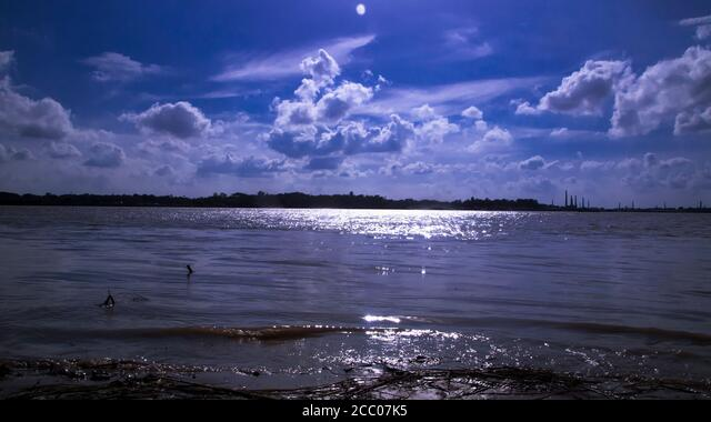 Sunny day on a calm river in summer ALM2CC07K5| 写真素材・ストックフォト・画像・イラスト素材|アマナイメージズ