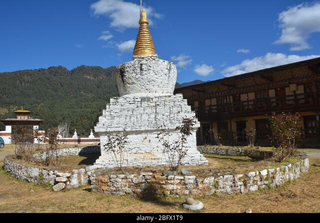 A religious school with monks' accommodation in Bumthang, Bhutan. ALM2BFX1T9  写真素材・ストックフォト・画像・イラスト素材 アマナイメージズ