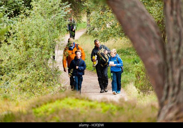 School outing on a trail on the Rothiemurchus Estate, Highlands, Scotland, UK ALMH3FJ0W  写真素材・ストックフォト・画像・イラスト素材 アマナイメージズ